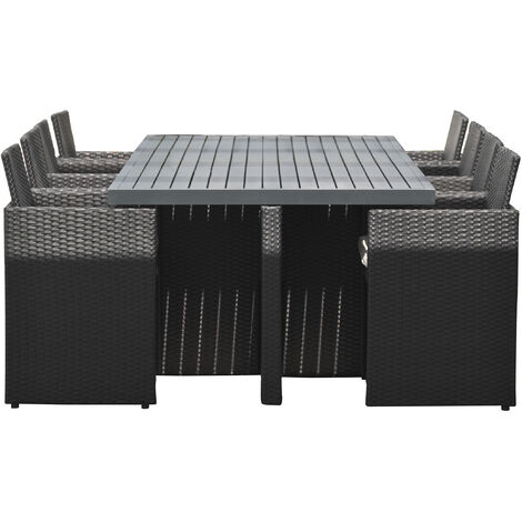 Encastrable 8P en resine tressee, plateau aluminium: 1 table ...