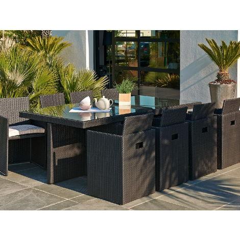 Salon de jardin en résine table 8 fauteuils Noir