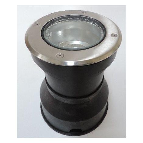 Encastré de sol Ø 130mm acier inox brossé pour lampe GU10 50W max (non incl) 230V IK10 IP67 OLODUM MINI SIDE E8186-R