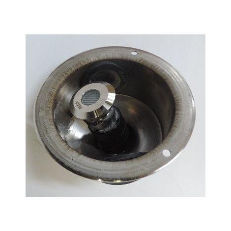Encastré de sol LED 0.5W Ø 37mm alu 6500K alim 24V DC (non incl) carrossable 1t avec pot d'encastrement Ø 116mm IP68 BEGA 8688
