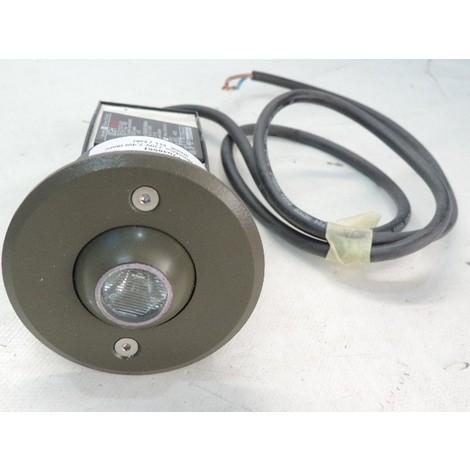 Encastré de sol LED 2.4W rond kaki Ø 80mm blanc chaud 3000K extérieur avec alim 230V IP67 Rolled boule FIRALUX F70489KI