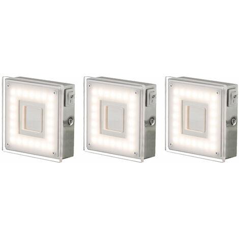 Encastré mural d'intérieur LED encastrable plat angle cuisine LED éclairage sous meuble, avec interrupteur, 1x 5 watt 360 lumens blanc chaud, LxH 9 x 3,1 cm, lot de 3