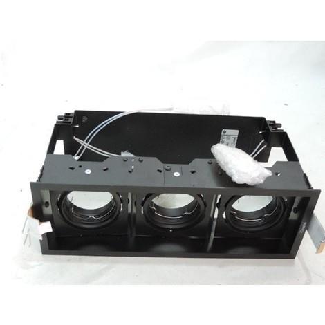Encastré orientable noir 3 spots 270X100mm lampe GU5.3 12V 50W max (non incl) sans transfo DEEP MINIMAL IGUZZINI 3.2670.004.0