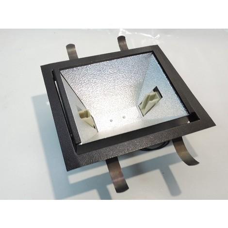 Encastré rectangulaire noir orientable 265X235X100mm pour lampe 250W culot FC2 161mm sans verre de protection JIM ERCO 71202