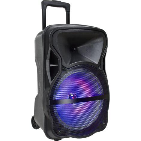 Enceinte à batterie mobile avec Bluetooth V-tac VT-6315, un microphone sans fil, un microphone câblé et effet de lumière LED - RVB - 50W - avec télécommande -15 pouces