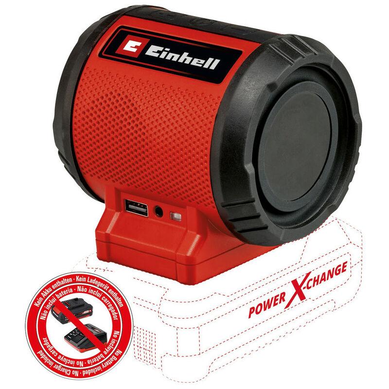 Einhell Enceinte sans fil TC-SR 18 Li BT-Solo Power X-Change (18V, 85 dB max., Bluetooth, prises AUX/USB, panneau de commande intuitif) Livré sans