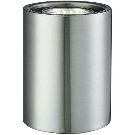 Encendedor 3W, lámpara de mesa con columna cilíndrica, Gu10 Led, plata satinada 3000K