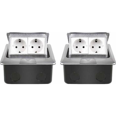 """main image of """"Enchufe empotrado, enchufe empotrado en el suelo, 2 salidas retráctiles de aleación de aluminio, enchufe para encimera, regleta de enchufes adecuada para cocina, dormitorio, oficina 2 piezas"""""""