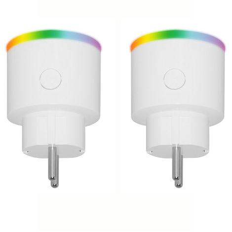 Enchufe inteligente con control remoto Wi-Fi, con indicador LED, 2 piezas
