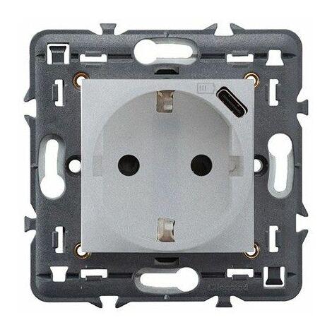 Enchufe Schuko 2P+T+USB TIPO C 1,5A Legrand 741334 serie Valena Next color aluminio