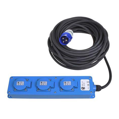 Enchufe Schuko CEE de 3 vías a 20m (2x Schuko + 1x2-USB)