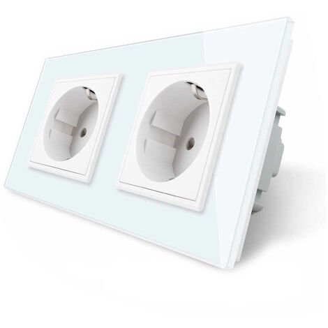 Enchufe Socket doble EU 16A, frontal blanco