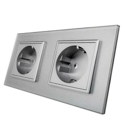 Enchufe Socket doble EU 16A, frontal gris