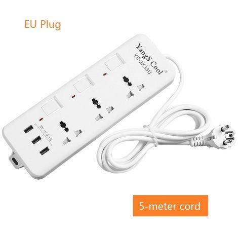 Enchufes electricos estacion de carga versatil Hub Power Strip con puertos USB conmutados individualmente 250V, 10A, Cable 5M enchufe de la UE