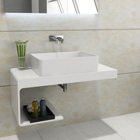 Encimera de baño para lavabo con espacio de almacenamiento NT01 100 x 48 x 42 cm en piedra maciza (Solid Stone)