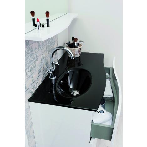 Encimera de cristal negra para el mueble Italo 90 - Aqua +