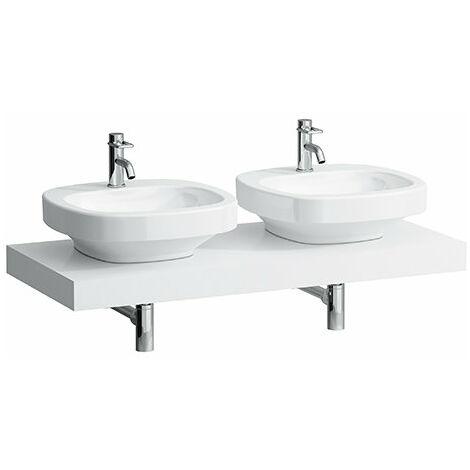 Encimera del lavabo, recortada a izquierda y derecha, 80x1190x520, color: Nieve (blanco mate) - H4051440754631
