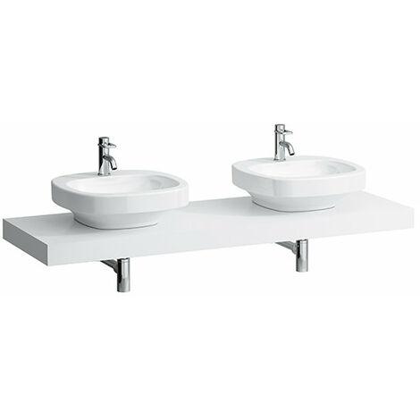 Encimera del lavabo, recortada a izquierda y derecha, 80x1580x520, color: Nieve (blanco mate) - H4051540754631