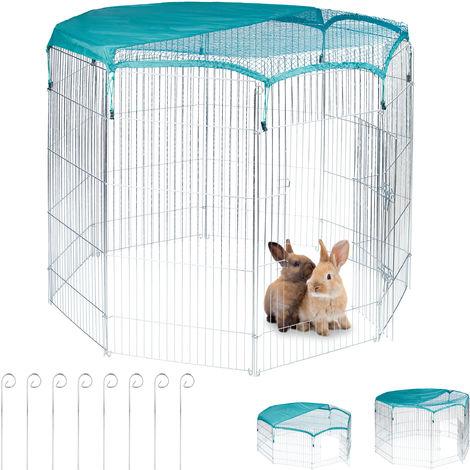 Enclos avec couverture en filet, lapins, cochons d'inde,extérieur, élevage,HlP: 122,5x160x160cm, argent