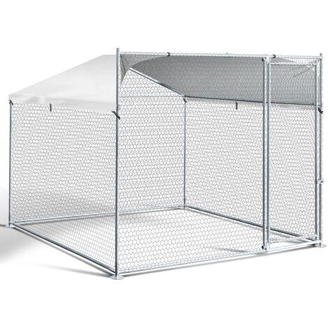 Enclos BOGOTA 4 m² parc grillagé 2 x 2 x 1.6 M acier galvanisé avec filet
