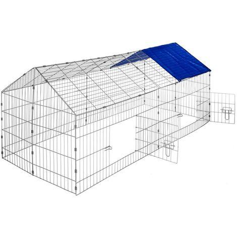 Enclos cage pour rongeurs 180 x 75 x 75 cm bleu - Bleu