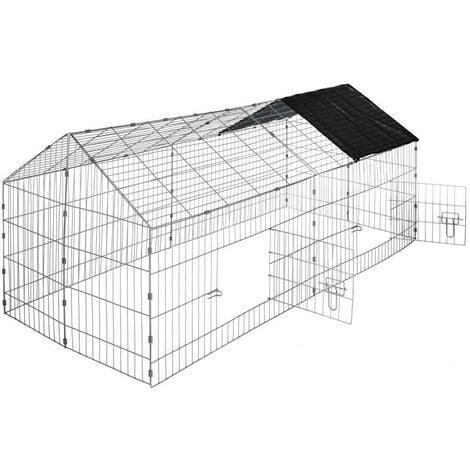 Enclos cage pour rongeurs 180 x 75 x 75 cm noir - Noir