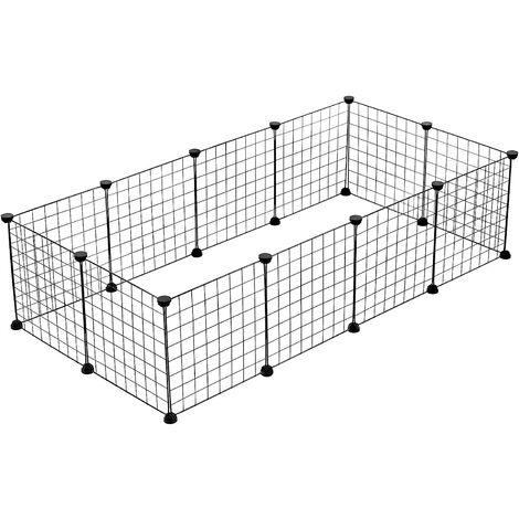Enclos DIY pour Chiot Parc enclos réglable en Fil de Fer et Plastique pour Petits Animaux Lapins Hamster