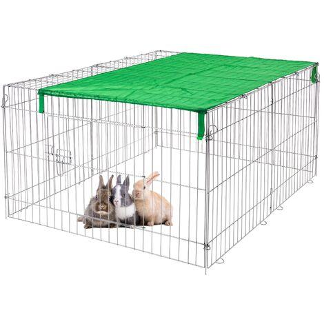 Enclos extérieur cage animaux avec pare-soleil en métal galvanisé 120x58x92 cm
