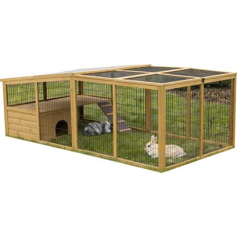 Enclos extérieur pour petits animaux avec dispositif anti-fugue