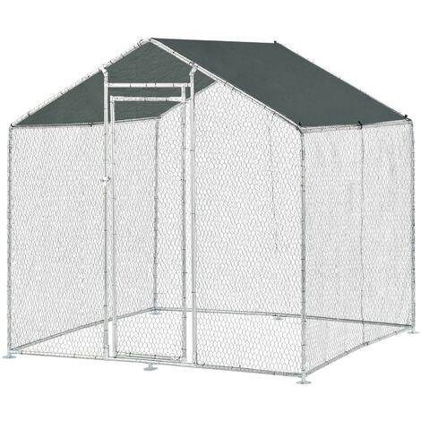 Enclos extérieur volière cage pour animaux avec serrure armature acier galvanisé 2 x 2 x 2 m argent vert foncé - Vert