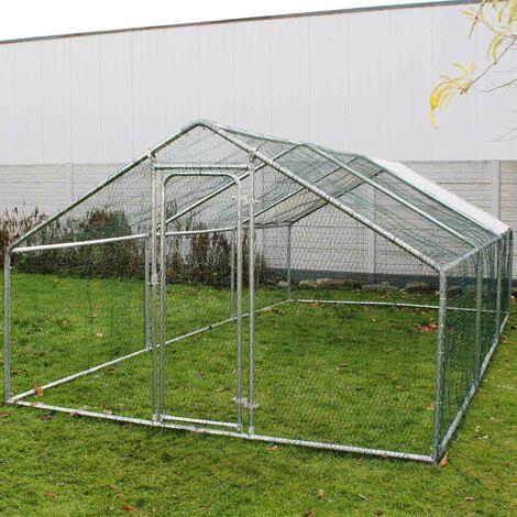 Enclos extérieur Volière Poulailler Clapier de lapin Cage pour petits animaux 6x3x2m Auvent