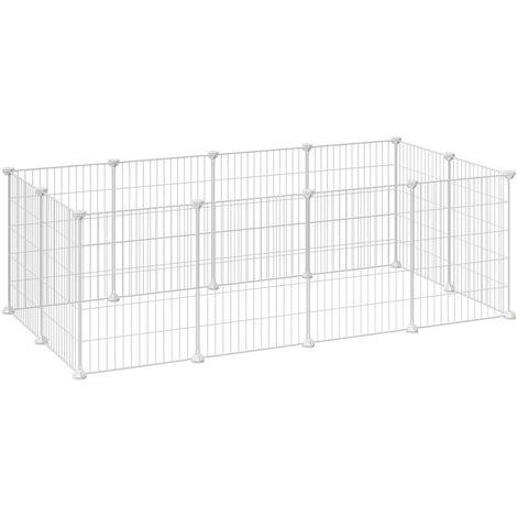 Enclos modulable pour Petits Animaux, Cage intérieur, Maillet en Caoutchouc Offert, Cochon d'Inde, Lapin, Assemblage Facile, 143 x 73 x 46 cm (L x l x H), Noir/Blanc
