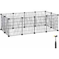 Enclos modulable pour Petits Animaux, Cage intérieur, Maillet en Caoutchouc Offert, Cochon d'Inde, Lapin, Assemblage Facile, 143 x 73 x 46 cm (L x l x H), Noir LPI01H