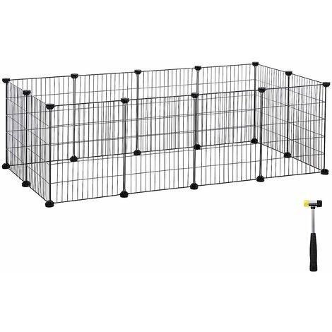 """main image of """"Enclos modulable pour Petits Animaux, Cage intérieur, Maillet en Caoutchouc Offert, Cochon d'Inde, Lapin, Assemblage Facile, 143 x 73 x 46 cm (L x l x H), Noir/Blanc"""""""