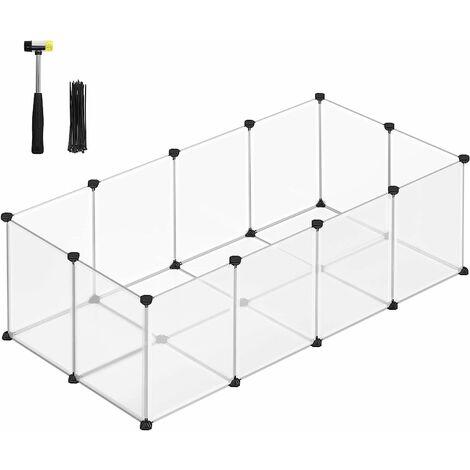 Enclos Petits Animaux Fond, Cage modulable Cochon d'Inde, Hamster, Lapin, Rongeur, Petits Animaux domestiques, Panneaux Transparent/Gris