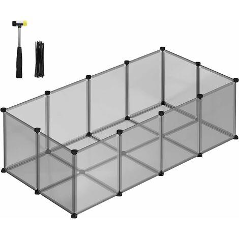 Enclos Petits Animaux Fond, Cage modulable Cochon d'Inde, Hamster, Lapin, Rongeur, Petits Animaux domestiques, Panneaux Transparents/Gris