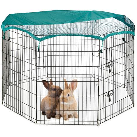Enclos, pliable, avec couvercle, lapins, cochons d'inde, intérieur et extérieur, élevage, L, noir