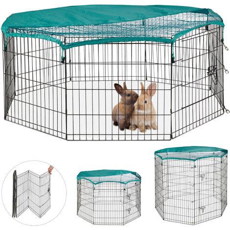 Enclos, pliable, avec couvercle, lapins, cochons d'inde, intérieur et extérieur, élevage, S, noir