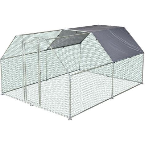 Enclos poulailler chenil 10,64 m² - parc grillagé dim. 3,8L x 2,8l x 1,95H m - espace couvert - acier galvanisé