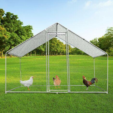 Enclos Poulailler Extérieur 3mx2mx2m Volière Acier Galvanisé Volaille Cage Animal Chien Lapin Canard Bâche Toit - Argent
