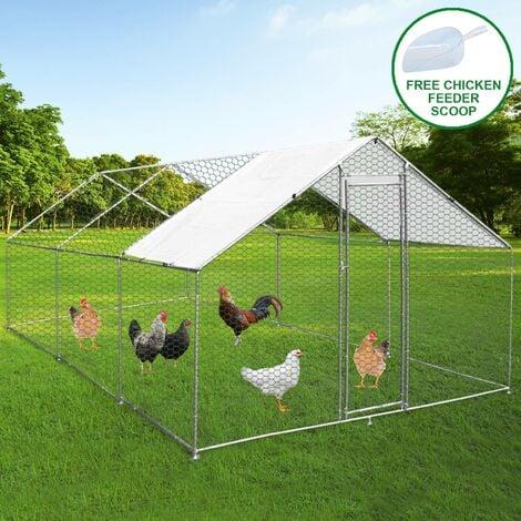 Enclos Poulailler Extérieur 4mx6mx2m Volière Acier Galvanisé Volaille Cage Animal Chien Lapin Canard Bâche Toit GRATIS - Argent