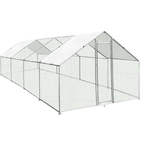 Enclos Poulailler Extérieur 4mx8mx2m Volière Acier Galvanisé Volaille Cage Animal Chien Lapin Canard Bâche Toit GRATIS - Argent