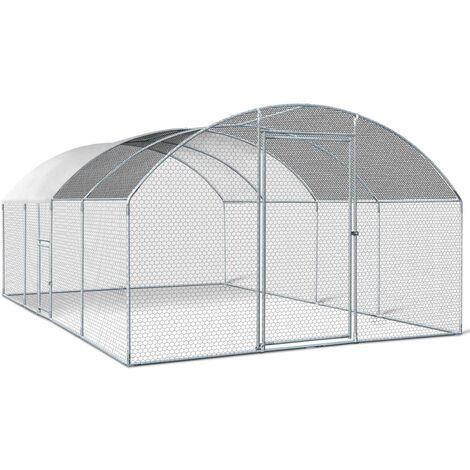 Enclos poulailler grillagé 3x5 M avec porte latérale et toit dôme acier galvanisé 15 m²
