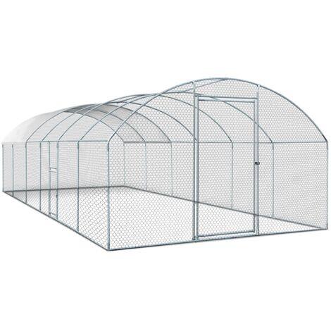 Enclos poulailler grillagé 3x7,5 M avec porte latérale et toit dôme 22,5 m²