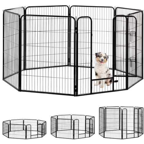 Enclos pour chiots, petits chiens, chiots, pour l'intérieur, stable, extérieur, parc, Taille XL, noir