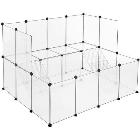 Enclos pour petit animal, clôture modulable, transparent LPC004W01 - Blanc