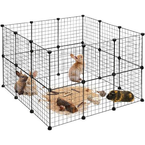 Enclos pour Petits Animaux Domestiques DIY Parc Extensible Cage Grille Clapier Grillage Pack de 24, Noir