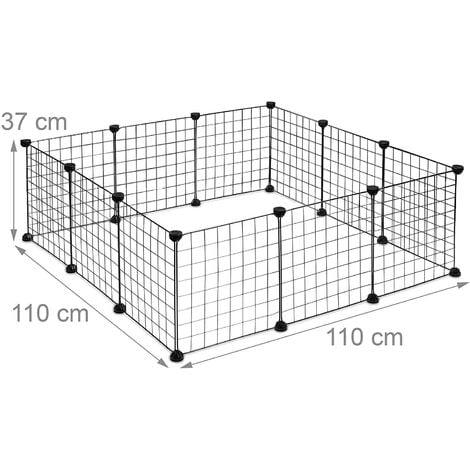 Enclos pour petits animaux domestiques parc extensible cage grille clapier grillage pack de 12 noir - Noir