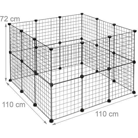 Enclos pour petits animaux domestiques parc extensible cage grille clapier grillage pack de 24 noir - Noir