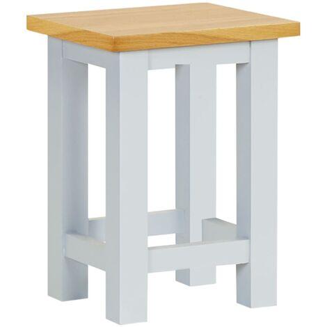 End Table 27x24x37 cm Solid Oak Wood - Grey